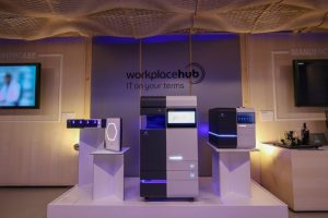 The Konica Minolta Workplace Hub Launch at at Umspannwerk Alexanderplatz on March 23, 2017 in Berlin, Germany.