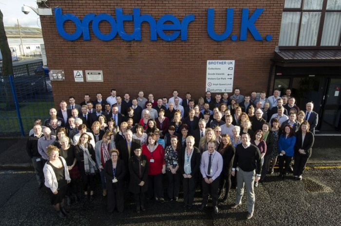 Brother UK Staff outside their HQ
